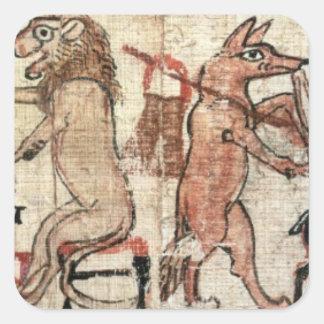 El papiro satírico pegatina cuadrada