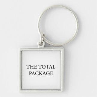 El paquete total llavero cuadrado plateado