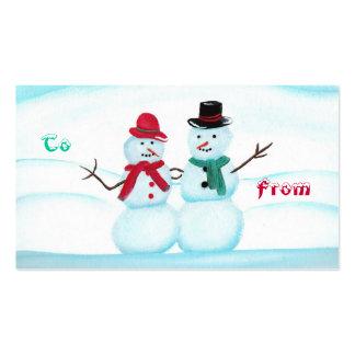 El par de la nieve que agita hola, a, de, regalo tarjetas de visita