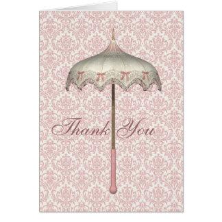 El paraguas rosado del parasol del vintage le agra tarjeta de felicitación