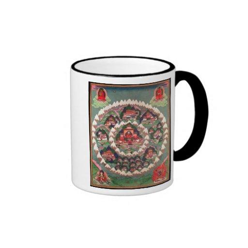 El paraíso de Shambhala, bandera tibetana Taza De Café