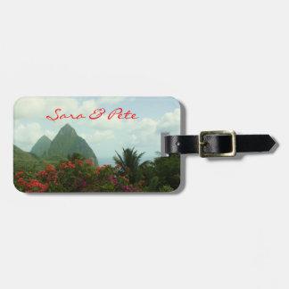 El paraíso tropical personaliza etiquetas del equi etiqueta de equipaje