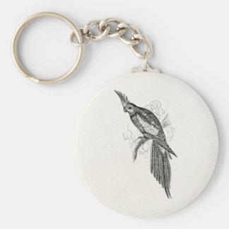 El Parakeet de lujo del vintage repite Llavero Redondo Tipo Pin