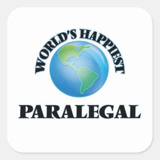 El Paralegal más feliz del mundo Pegatina Cuadrada