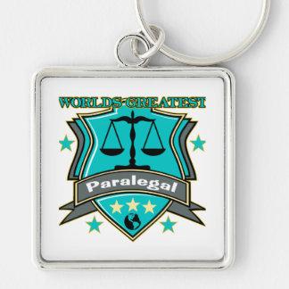 El Paralegal más grande del mundo legal Llavero Cuadrado Plateado