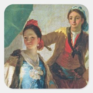El parasol, 1777 (aceite en lona) pegatina cuadrada
