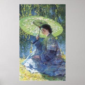 El parasol verde individuo subió