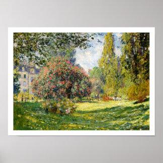 El Parc Monceau de Claude Monet Póster