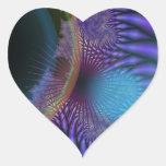 El parecer interno - misterio Amethyst y azul Pegatina De Corazón