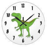 El pared-reloj/el medio de T-Rex del niño verde li