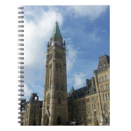 El parlamento canadiense en Ottawa Libros De Apuntes Con Espiral