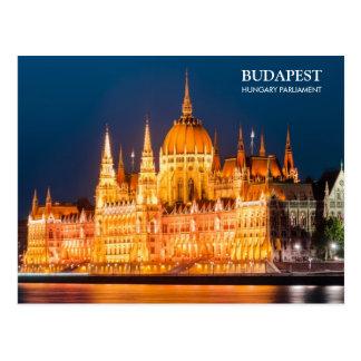 El parlamento de Budapest en postal de la noche
