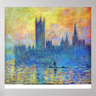 El parlamento de Londres en invierno de Claude Mon Póster