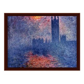 El parlamento en Londres de Claude Monet Tarjetas Postales