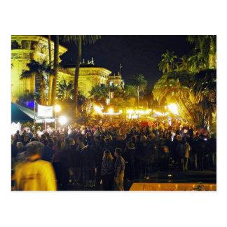 El parque del balboa aprieta luces de las palmeras tarjetas postales