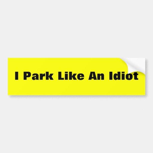 El parquear etiqueta de parachoque