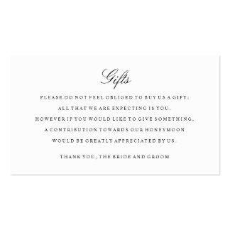 El parte movible del registro de regalos carda tarjetas de visita