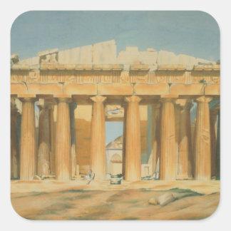 El Parthenon, Atenas, 1810-37 Pegatina Cuadrada