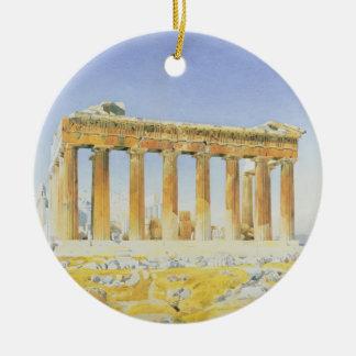 El Parthenon, c.1834 (w/c sobre el lápiz en el Adorno Navideño Redondo De Cerámica