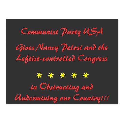 El Partido Comunista los E.E.U.U., da a Nancy Tarjeta Postal