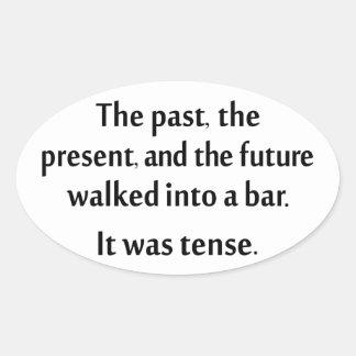El pasado, el presente, y el futuro caminaron en pegatina ovalada