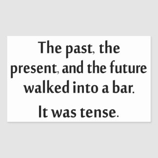 El pasado, el presente, y el futuro caminaron en pegatina rectangular