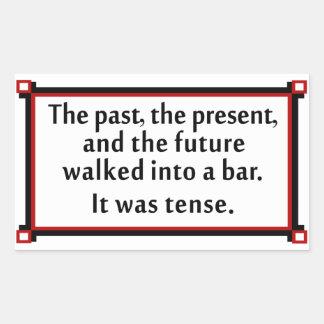 El pasado, el presente, y el futuro pegatina rectangular
