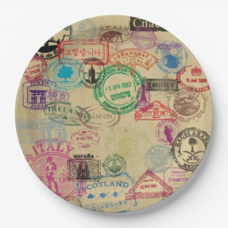 El pasaporte del vintage sella las placas de papel platos de papel