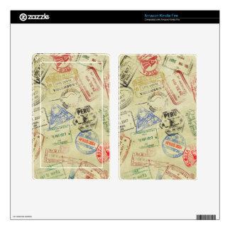 El pasaporte sella la piel - encienda a los lector kindle fire pegatinas skins