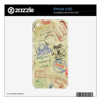 El pasaporte sella la piel - iPhones Skins Para eliPhone 4