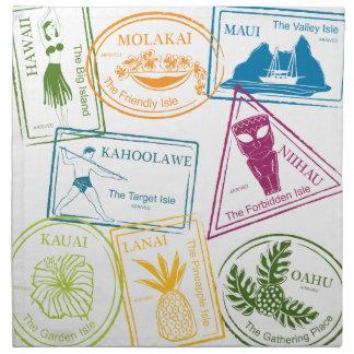 El pasaporte tropical hawaiano sella servilletas