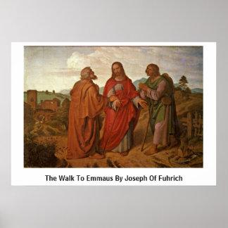 El paseo a Emmaus de José de Fuhrich Póster