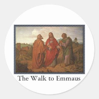 El paseo a los pegatinas de Emmaus Pegatina Redonda