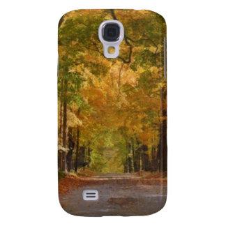 El paseo colorido del otoño pensó los árboles funda para galaxy s4