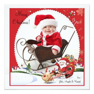 El paseo de Santa - tarjeta del día de fiesta de Invitación 13,3 Cm X 13,3cm