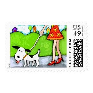 El paseo del perro sello postal