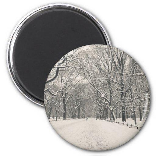 El paseo del poeta - invierno del Central Park Imán Redondo 5 Cm