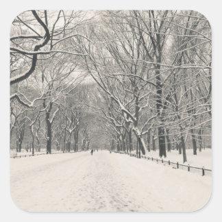 El paseo del poeta - invierno del Central Park Pegatina Cuadrada