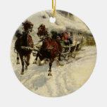 El paseo del trineo, 1896 (aceite en lona) ornamento para reyes magos