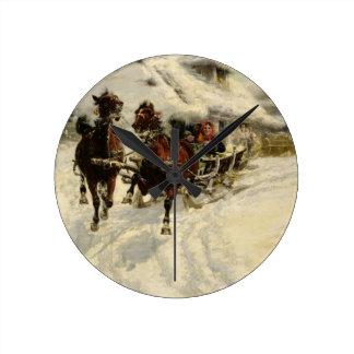 El paseo del trineo, 1896 (aceite en lona) reloj redondo mediano