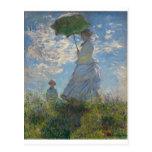 El paseo, mujer con un parasol (1875) postal