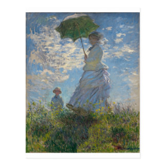El paseo, mujer con un parasol (1875) tarjeta postal