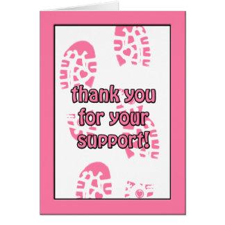El paseo rosado del cáncer de pecho le agradece ta tarjeta