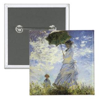 El paseo, señora con un parasol pin cuadrado