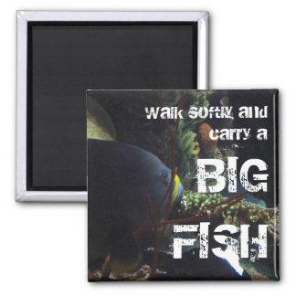 El paseo suavemente y lleva un pescado grande imán cuadrado
