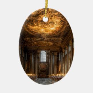 El Pasillo pintado, Greenwich Londres Adorno Navideño Ovalado De Cerámica