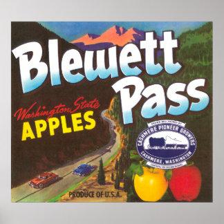 El paso Apple de Blewett etiqueta - la cachemira,  Posters