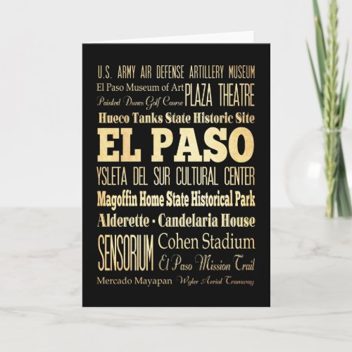 El Paso City of Texas State Typography Art Card