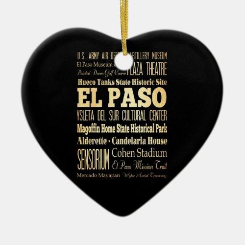 El Paso City of Texas State Typography Art Ceramic Ornament