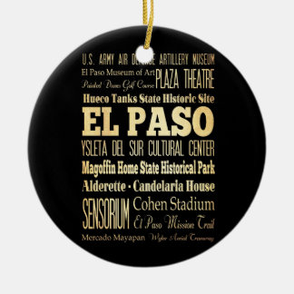El Paso City of Texas State Typography Art Ceramic Ornament